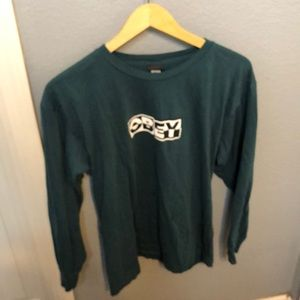 OBEY green with white/black checkered longsleeve
